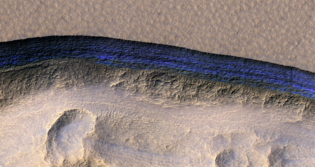 Blue Water Ice on Mars